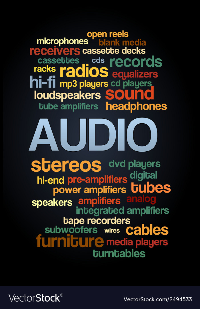 Audio stereo word cloud bubble tag tree text vector | Price: 1 Credit (USD $1)
