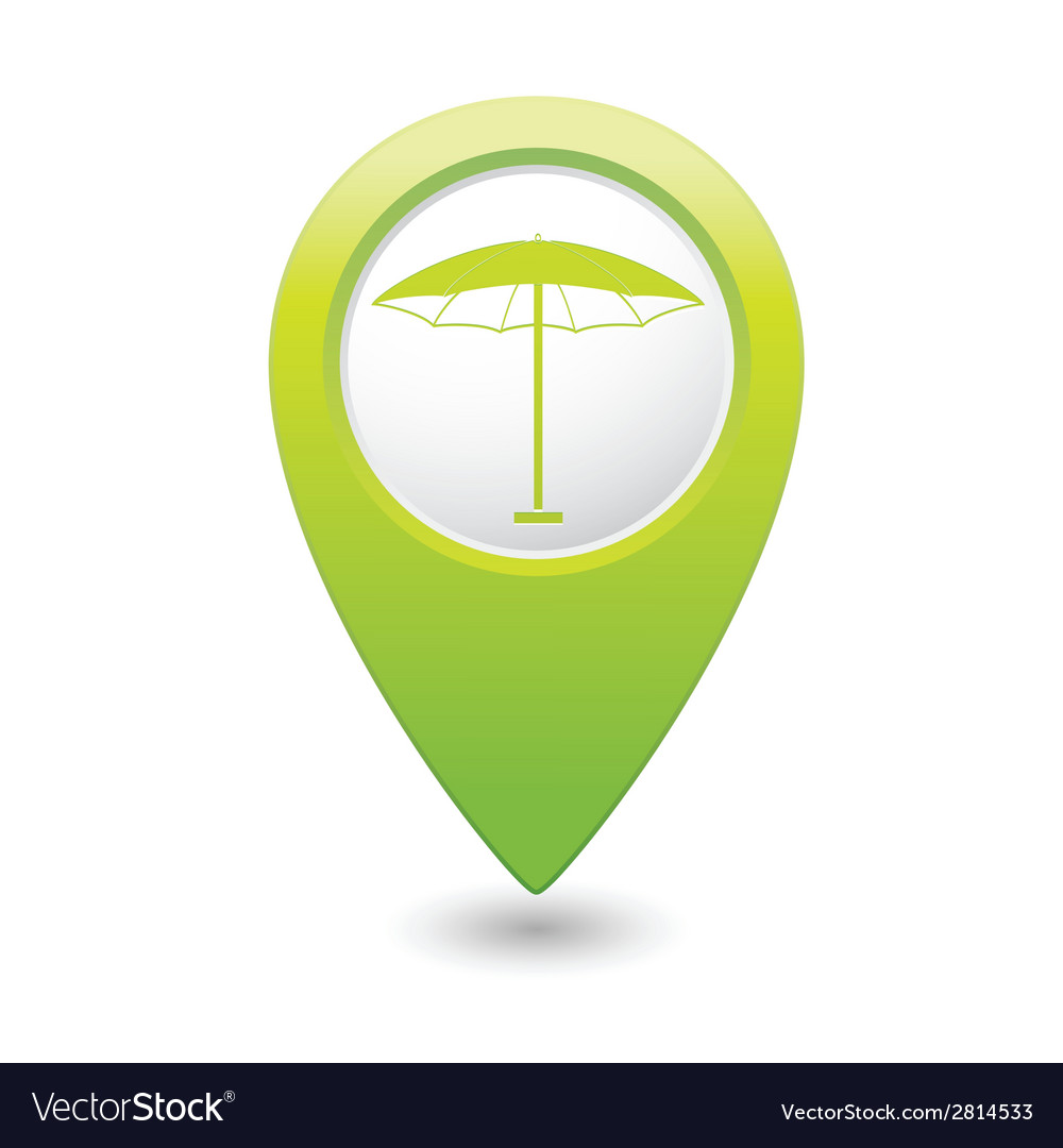 Beach umbrella icon icon on green pointer vector | Price: 1 Credit (USD $1)