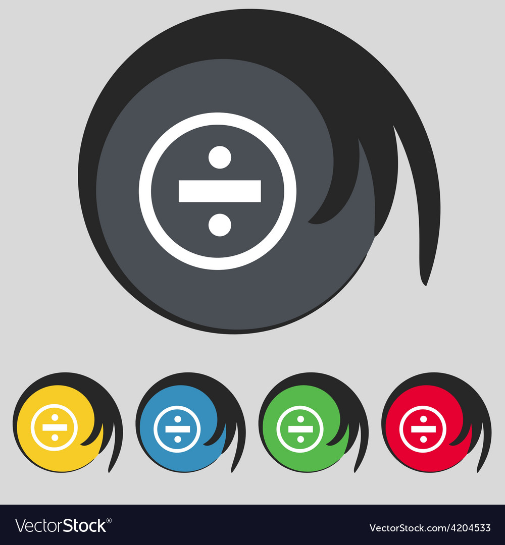 Dividing icon sign symbol on five colored buttons vector | Price: 1 Credit (USD $1)