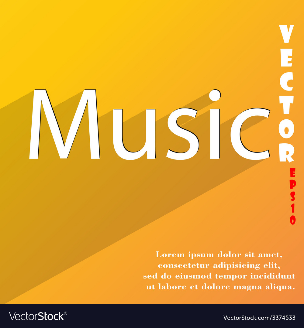 Music icon symbol flat modern web design with long vector | Price: 1 Credit (USD $1)