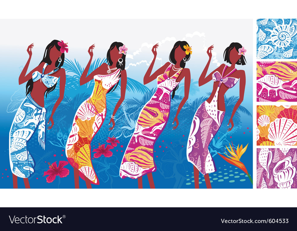 Sea shell print beach clothing vector | Price: 3 Credit (USD $3)