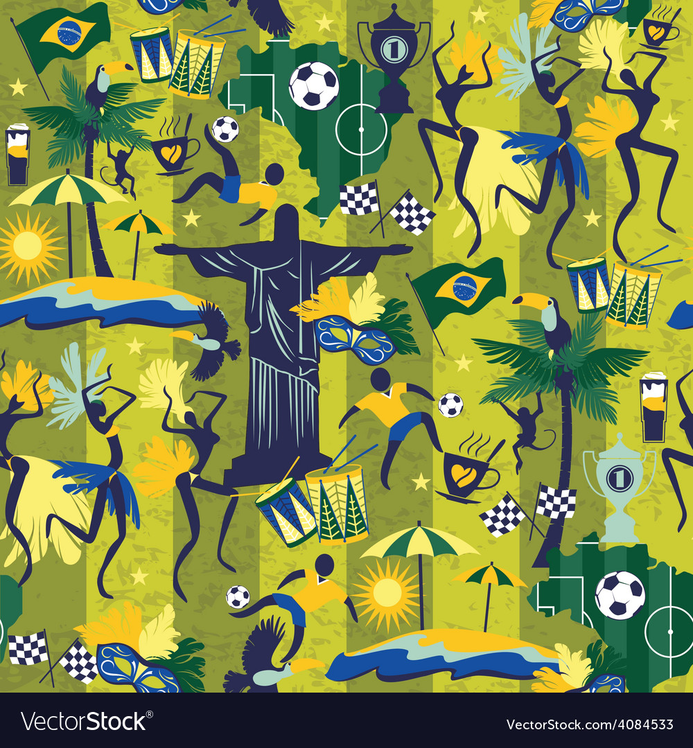 Seamless pattern with traditional brazilian items vector   Price: 3 Credit (USD $3)