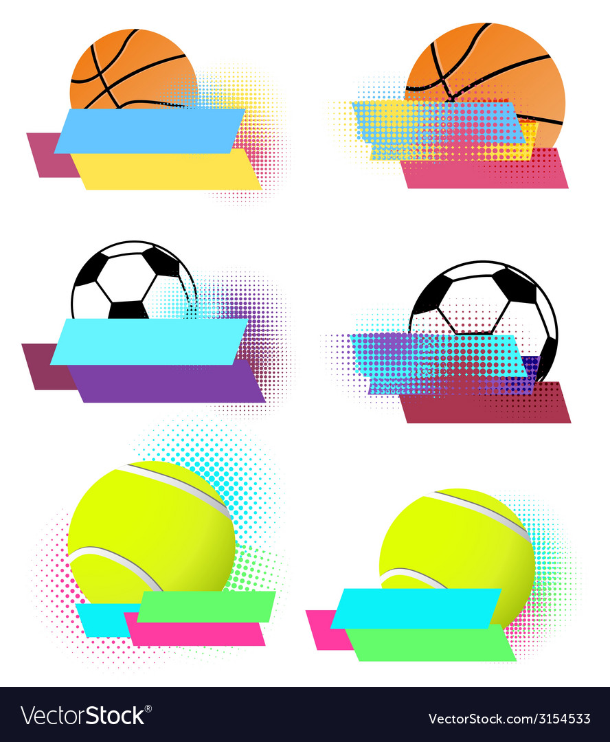 Sport balls banners set vector | Price: 1 Credit (USD $1)