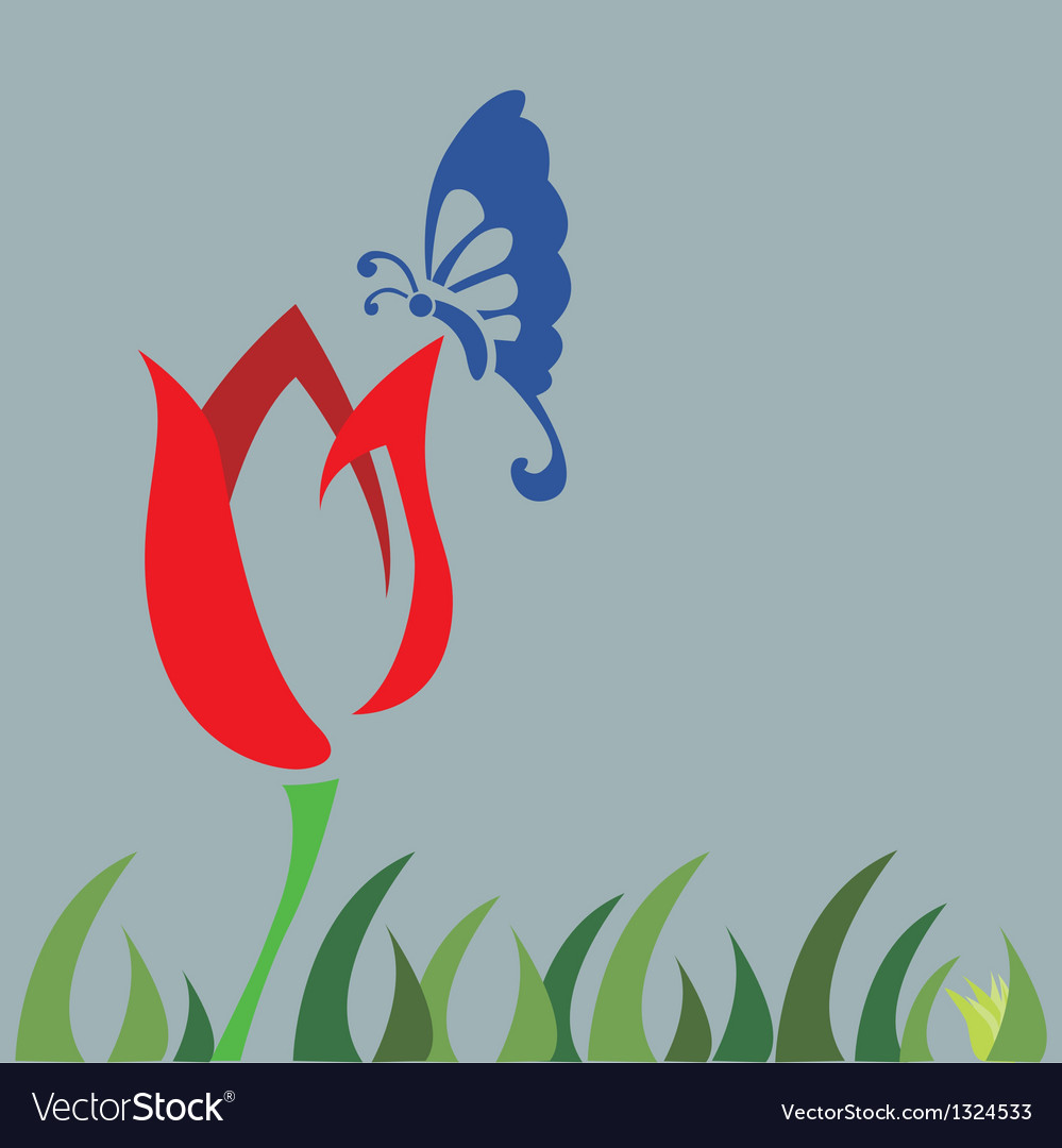 Tulip field and butterfly vector | Price: 1 Credit (USD $1)