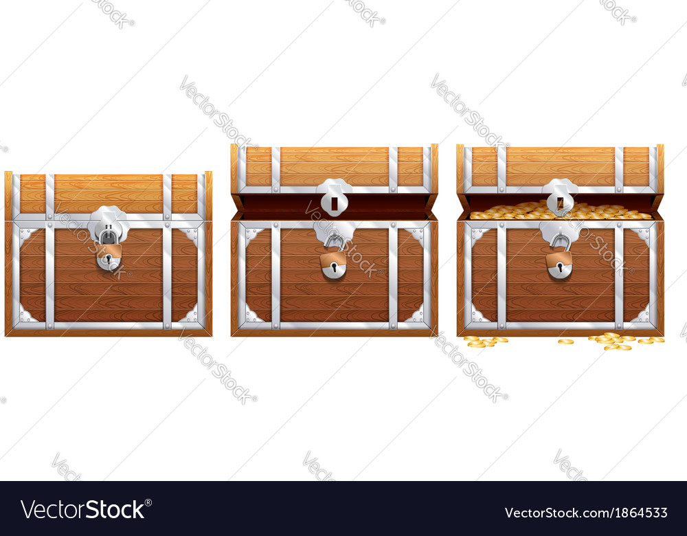 Vintage wooden chest with golden coin vector | Price: 1 Credit (USD $1)
