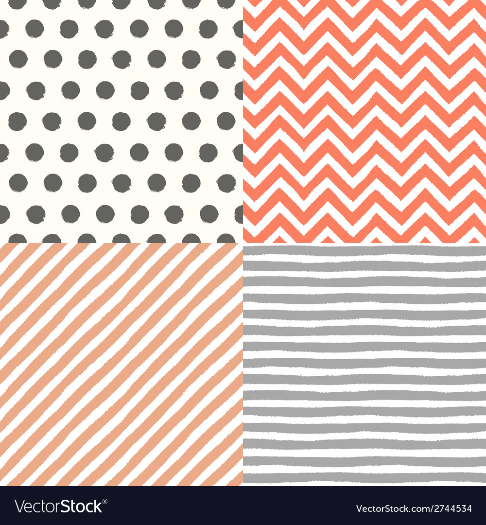 4 hand drawn painted seamless geometric patterns vector