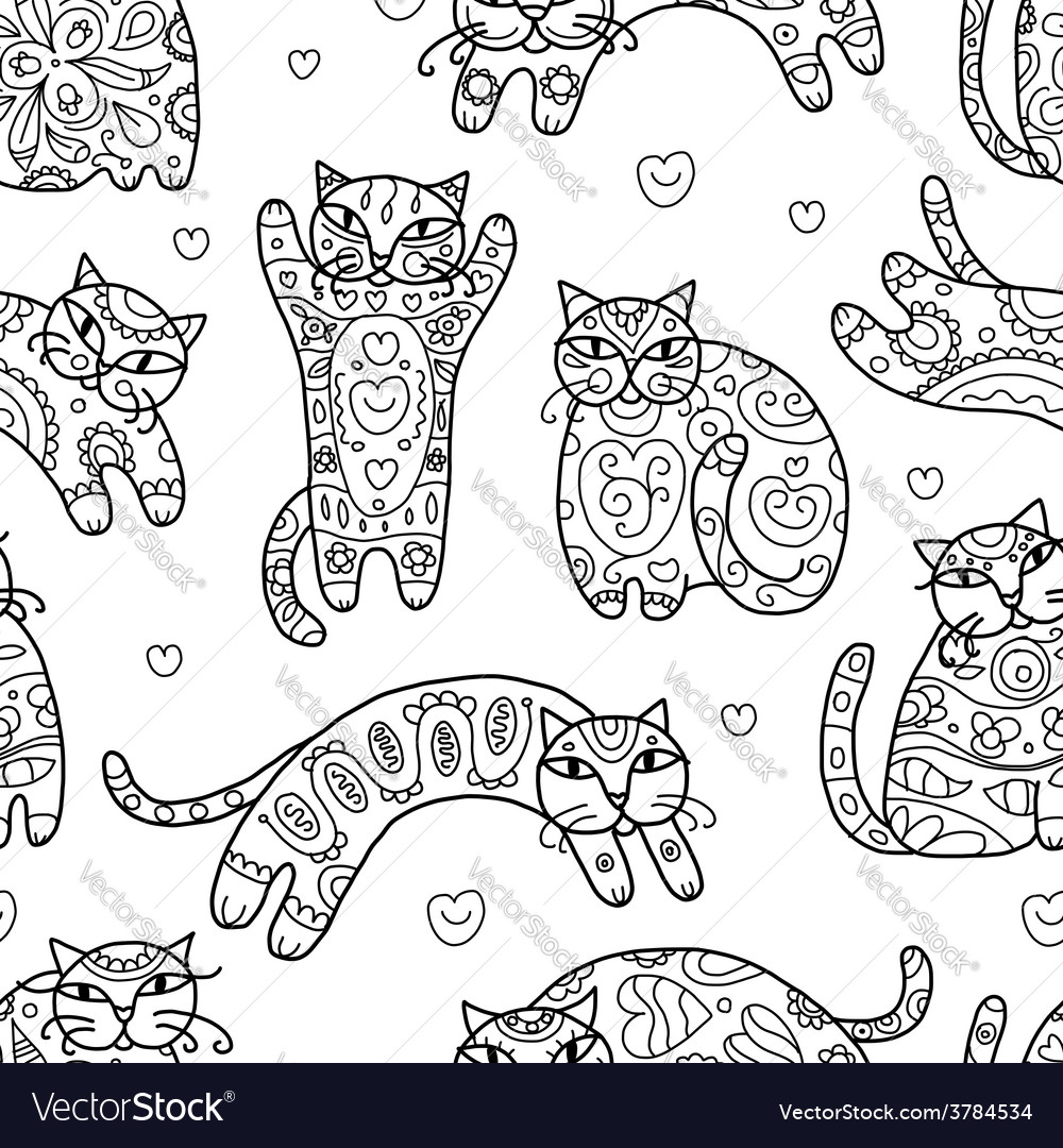 Art cats with floral ornament seamless pattern vector | Price: 1 Credit (USD $1)