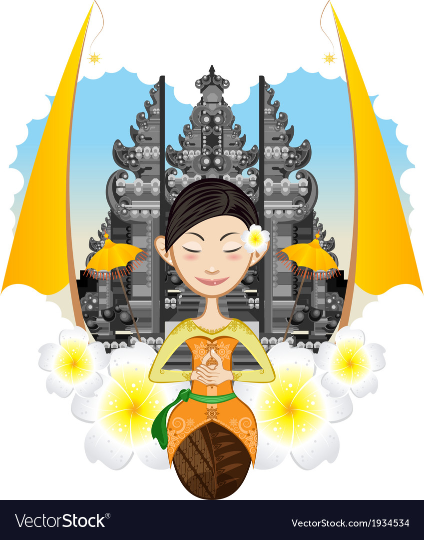 Balinese girl vector | Price: 3 Credit (USD $3)