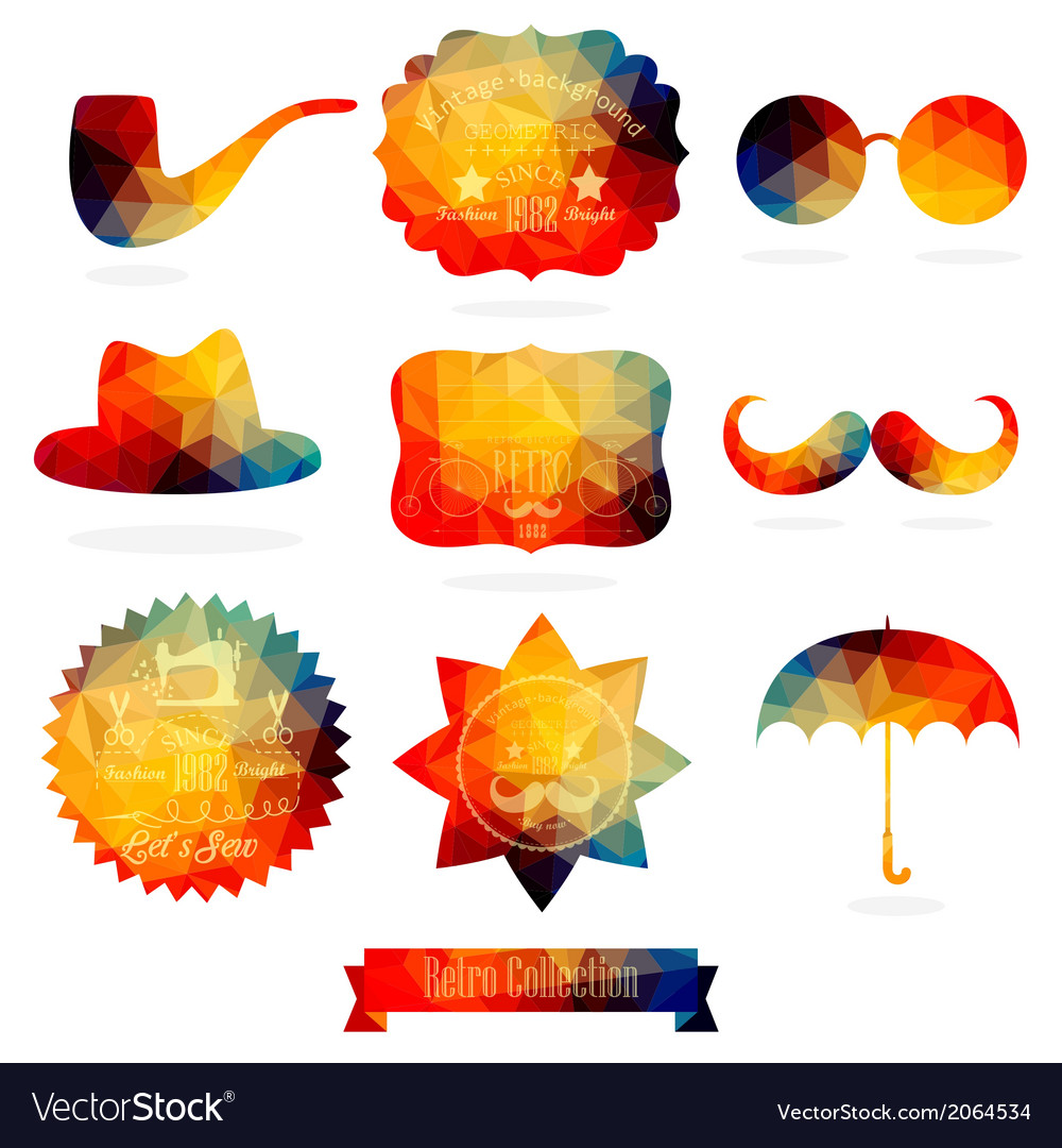 Hipster background made of geometric pattern retro vector | Price: 1 Credit (USD $1)