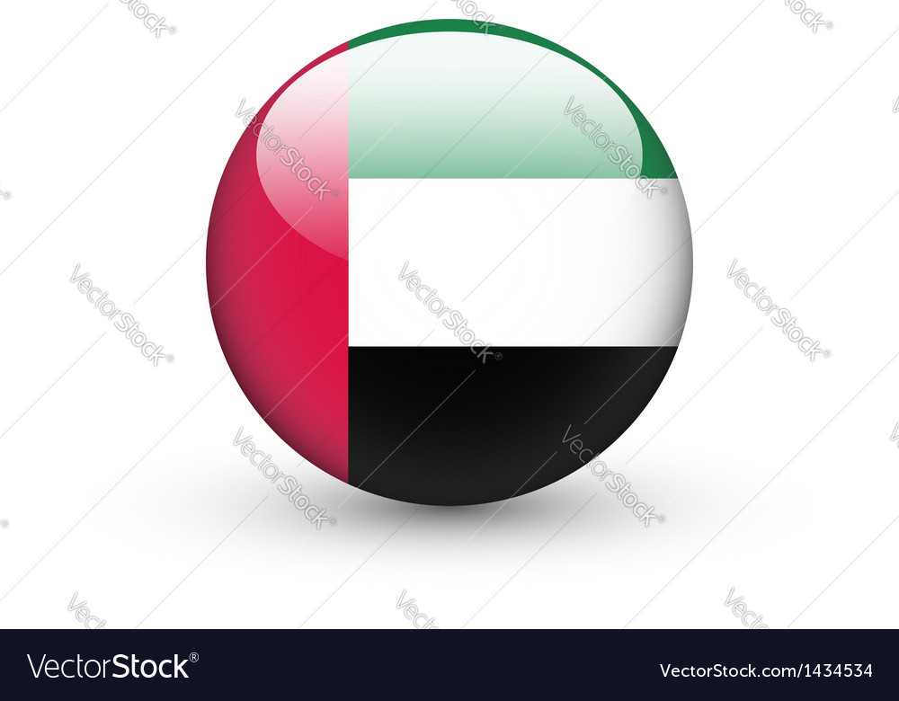 Round icon with flag of the united arab emirates vector | Price: 1 Credit (USD $1)