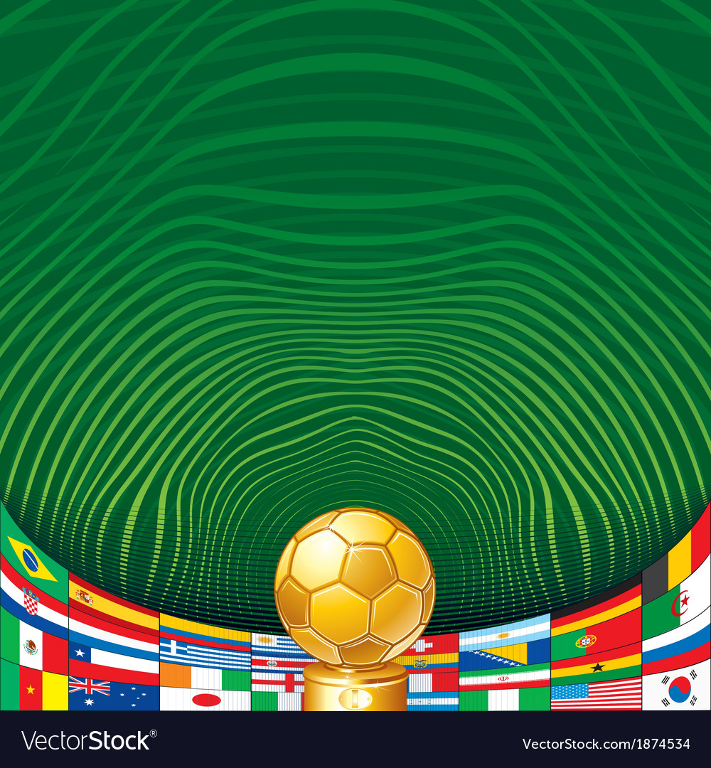 Soccer background with golden cup and flags vector