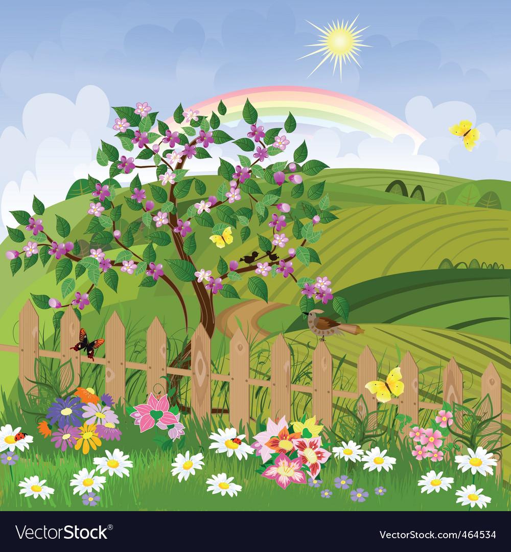 Spring landscape vector   Price: 1 Credit (USD $1)