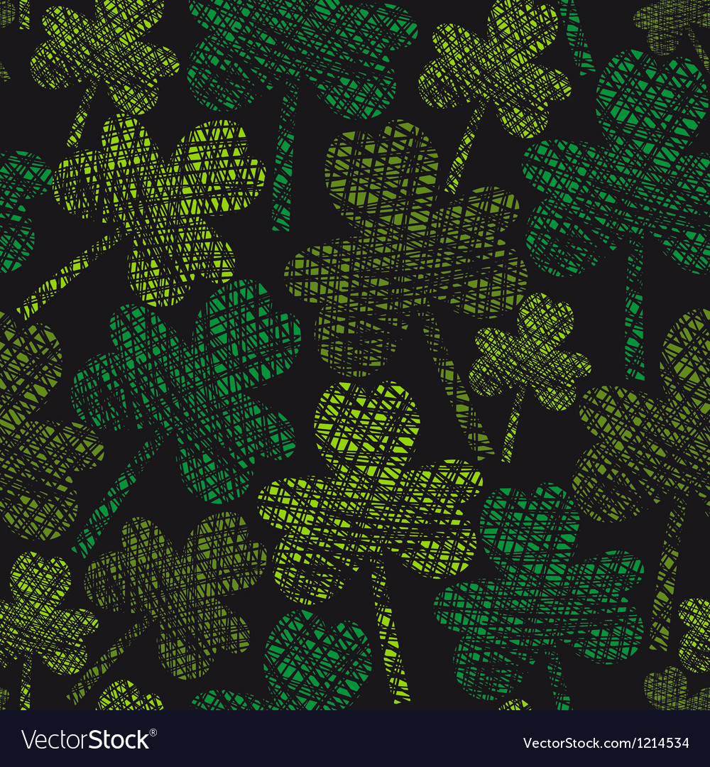 St patricks day vintage seamless clover pattern vector | Price: 1 Credit (USD $1)
