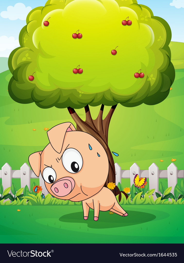 A pig exercising below the cherry tree vector | Price: 1 Credit (USD $1)