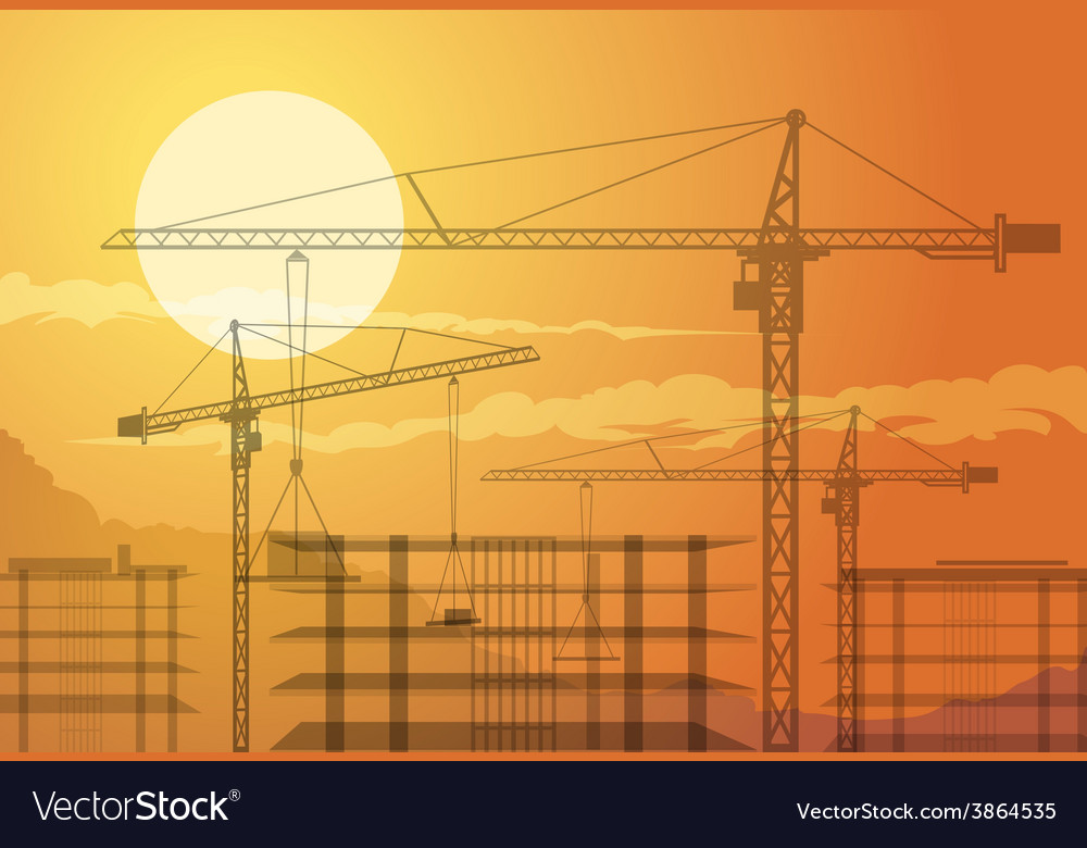Buildings and cranes vector | Price: 1 Credit (USD $1)