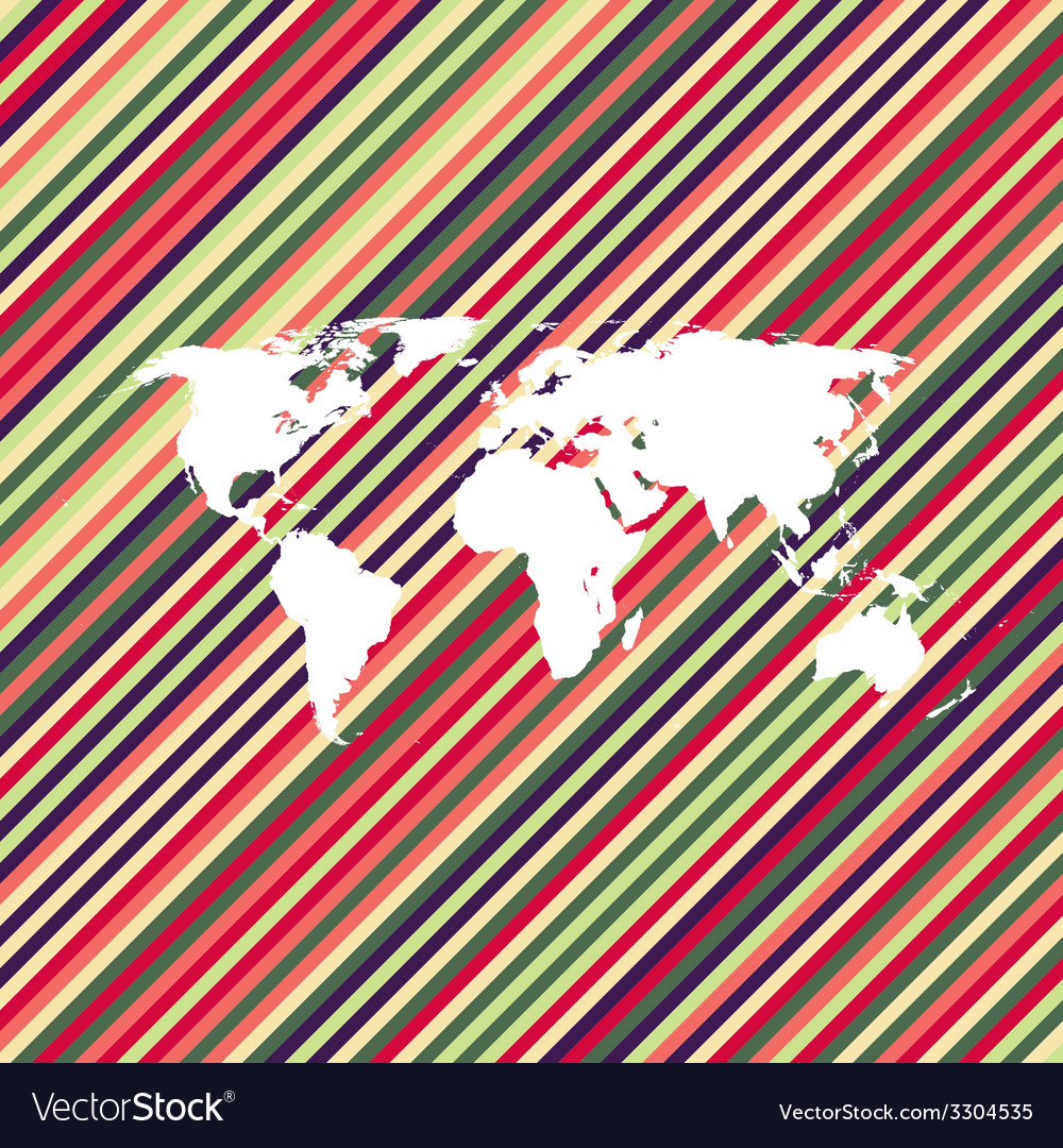 Color line world map vector | Price: 1 Credit (USD $1)