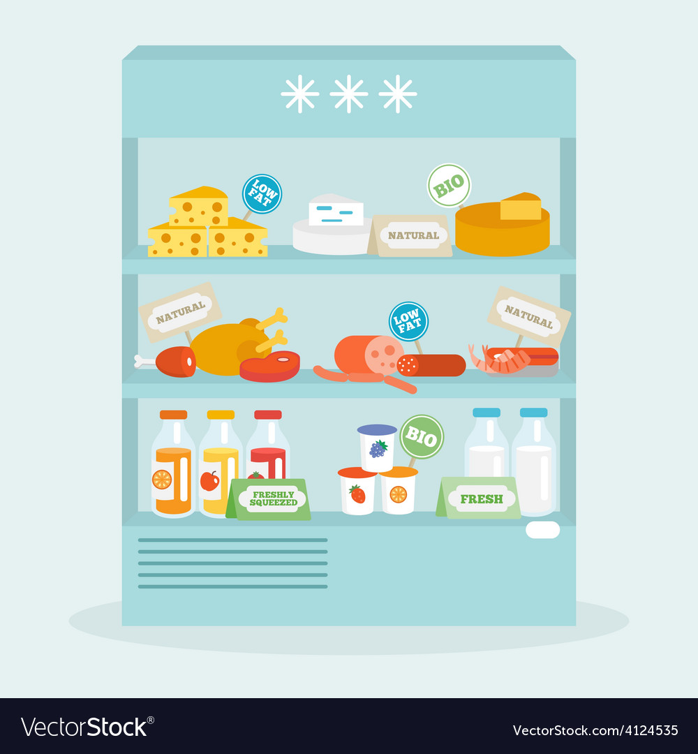Food in fridge collection vector | Price: 1 Credit (USD $1)