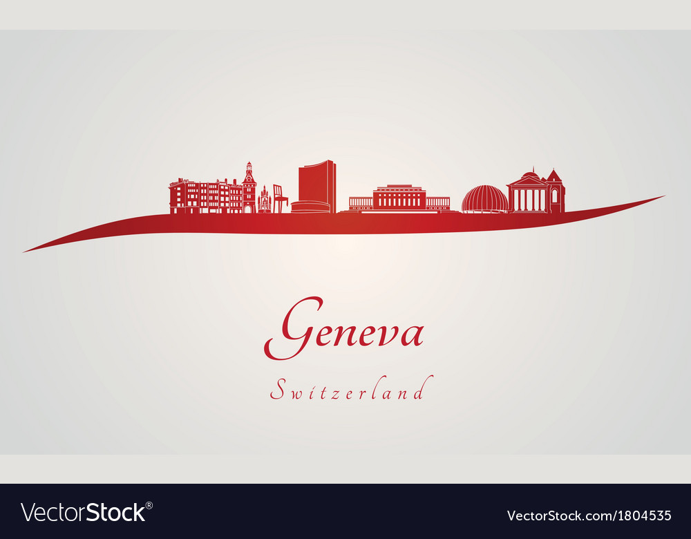 Geneva skyline in red vector | Price: 1 Credit (USD $1)
