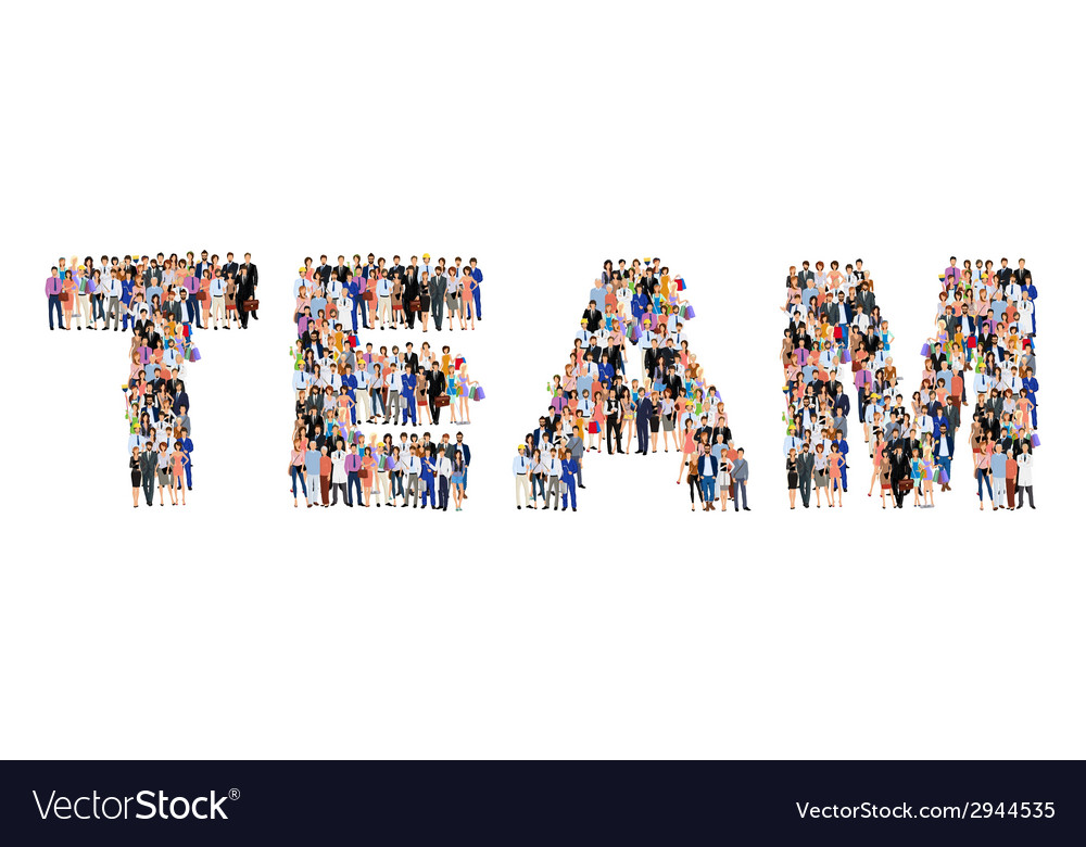 Group of people team poster vector | Price: 1 Credit (USD $1)