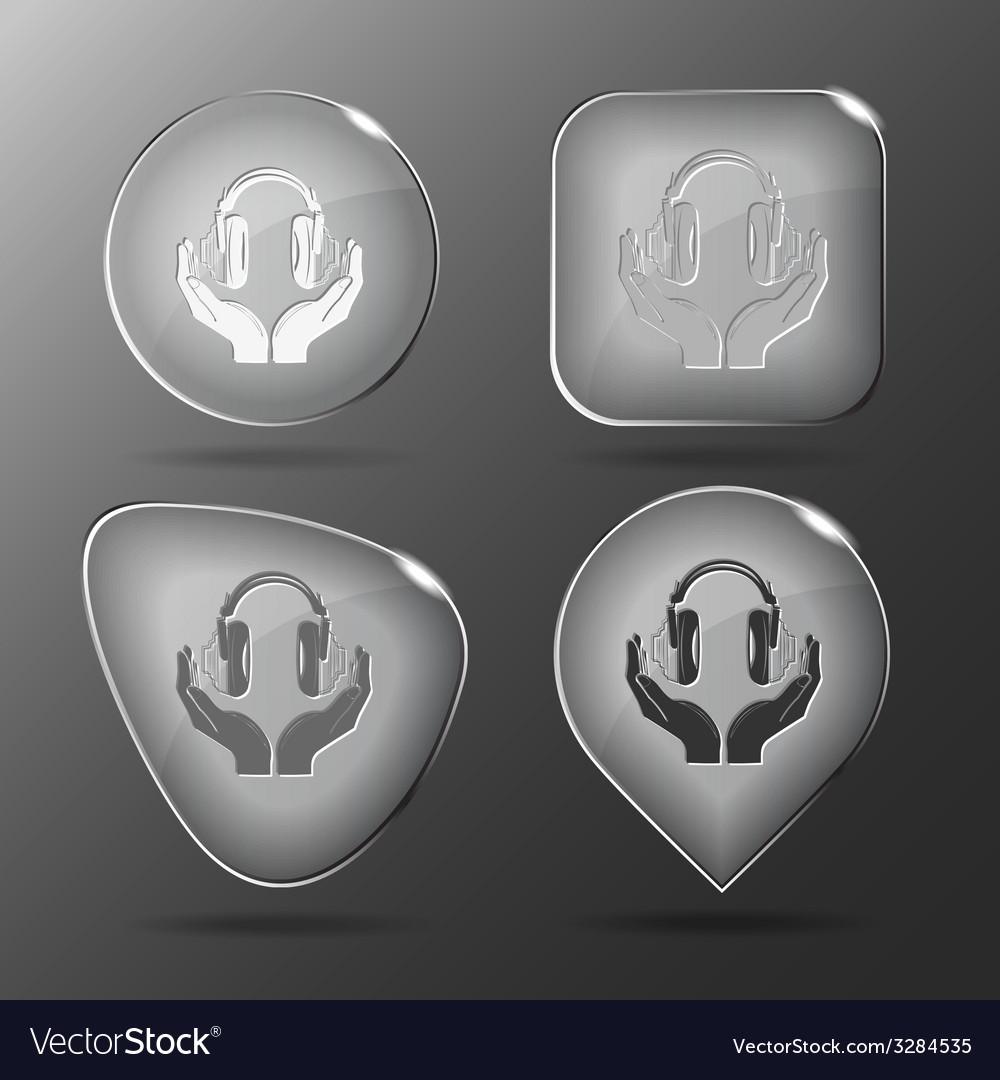 Headphones in hands glass buttons vector | Price: 1 Credit (USD $1)