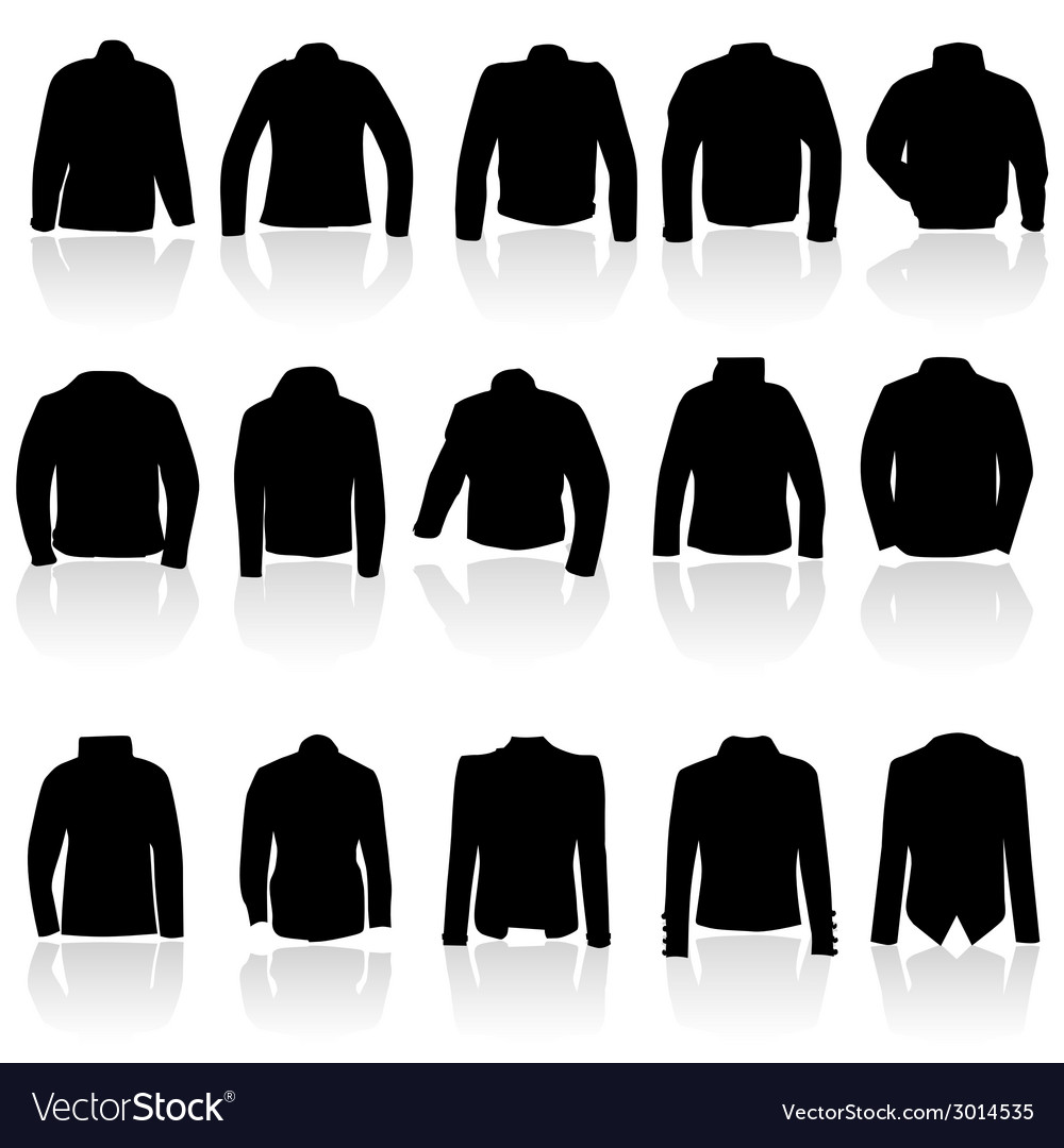 Jacket for man and women in black silhouette vector | Price: 1 Credit (USD $1)