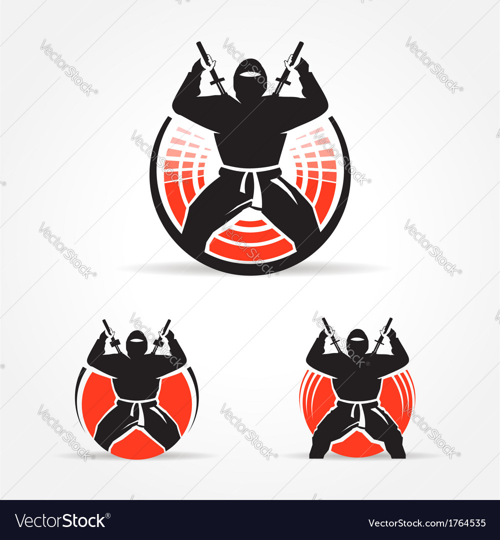 Ninja symbol emblem set vector | Price: 1 Credit (USD $1)
