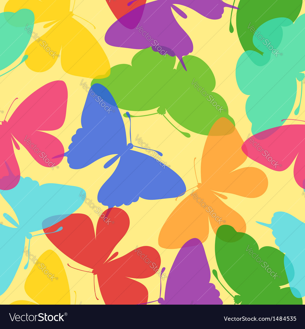 Seamless bright background of butterflies vector | Price: 1 Credit (USD $1)