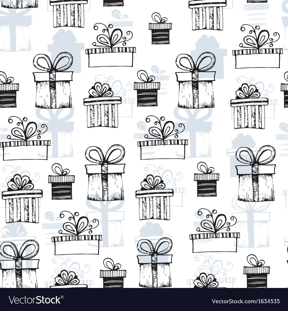 Seamless pattern with handdrawn gift boxes vector | Price: 1 Credit (USD $1)