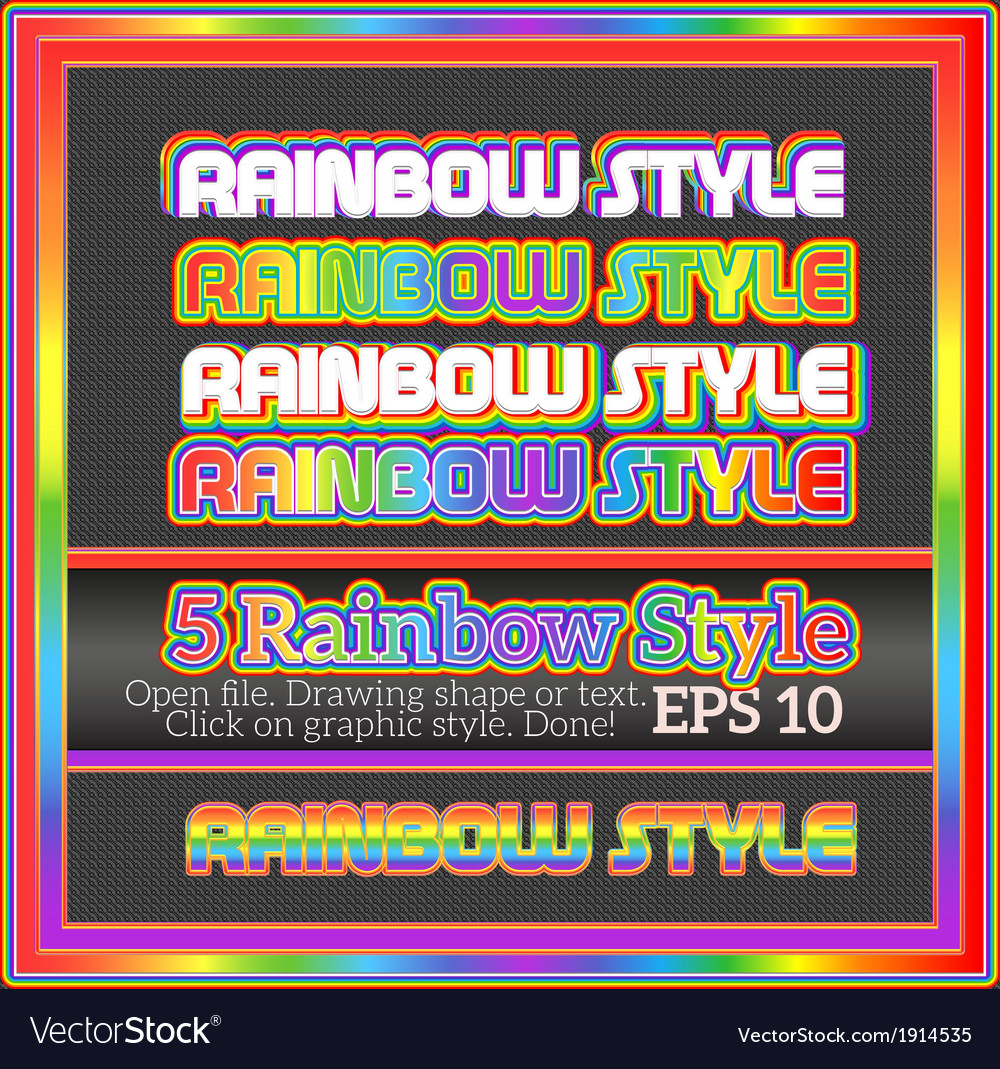Set of original rainbow graphic styles for design vector | Price: 1 Credit (USD $1)