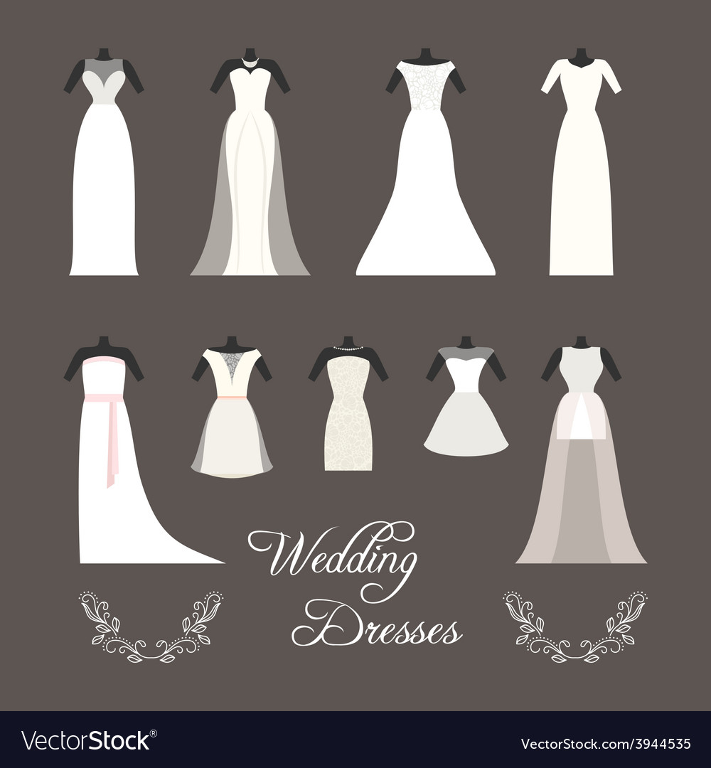 Set of wedding dresses isolated vector | Price: 1 Credit (USD $1)