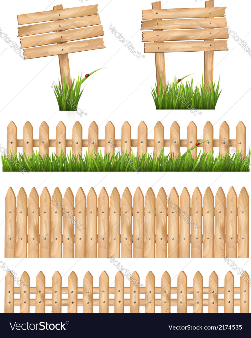 Set of wooden signs and a fences with grass vector   Price: 1 Credit (USD $1)