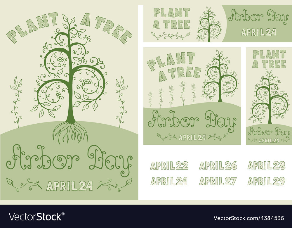 Arbor day set of hand drawn poster and banners vector | Price: 1 Credit (USD $1)