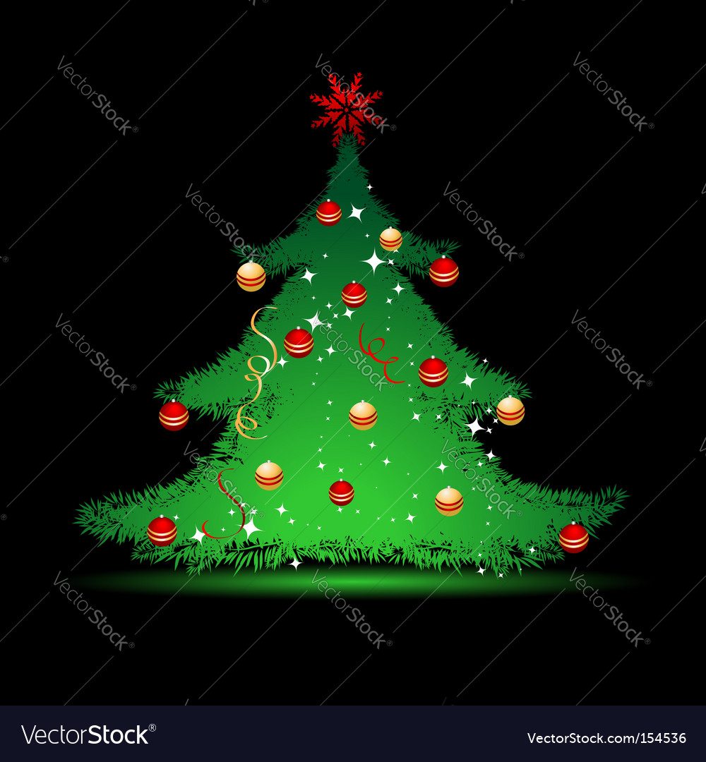 Christmas tree on black background vector | Price: 1 Credit (USD $1)