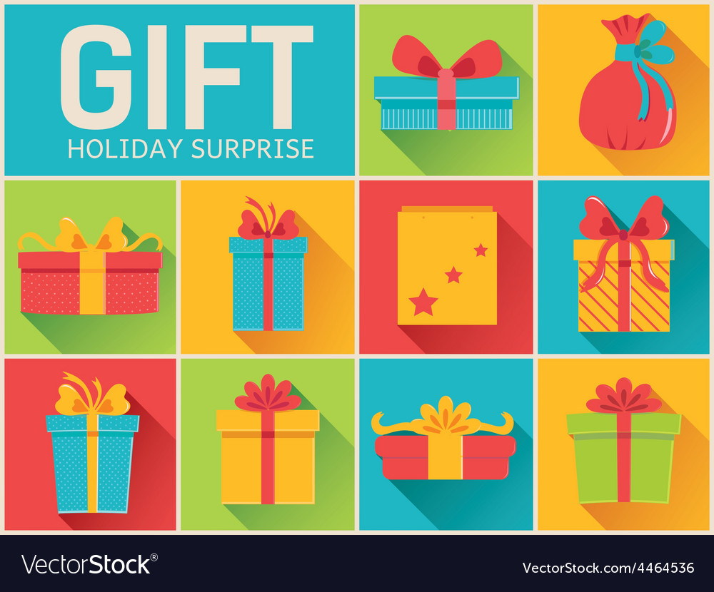 Colorful vintage gift postcard set icons concept vector | Price: 1 Credit (USD $1)