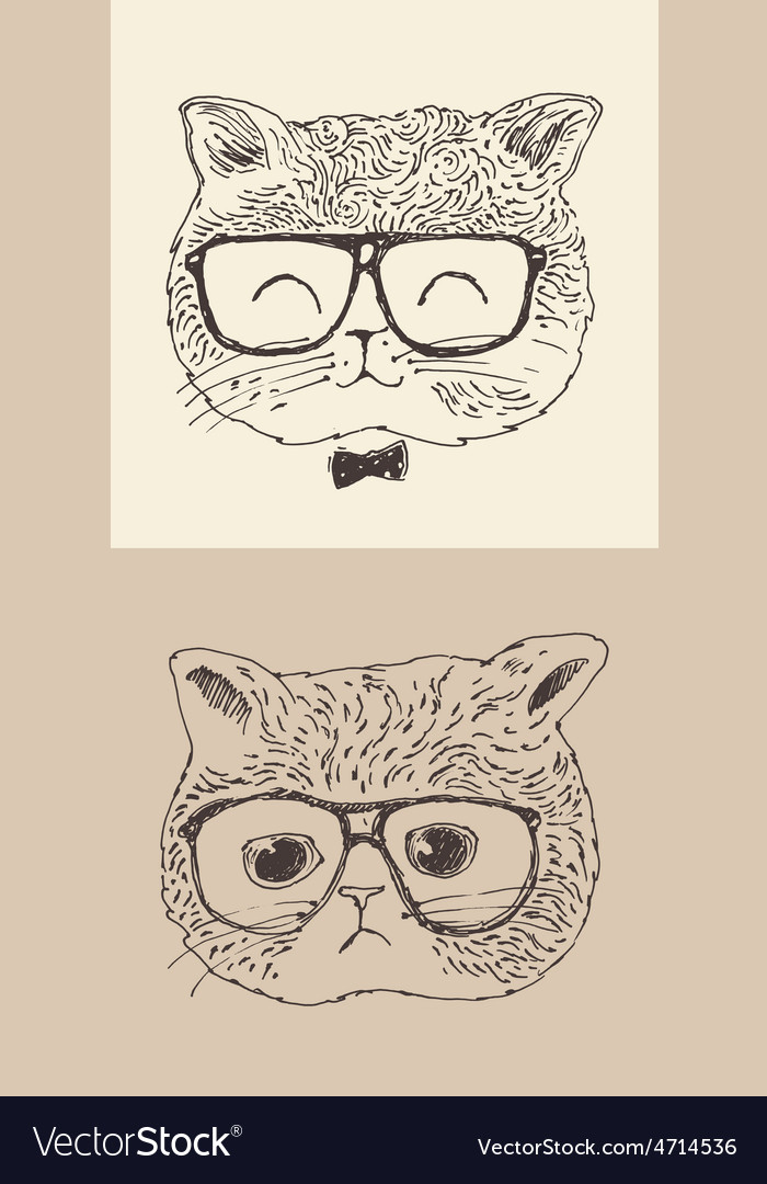 Cute cat kitten in glasses hipster style engraved vector | Price: 1 Credit (USD $1)