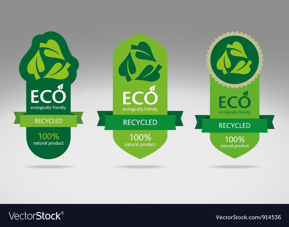 Eco label set 3 vector | Price: 1 Credit (USD $1)