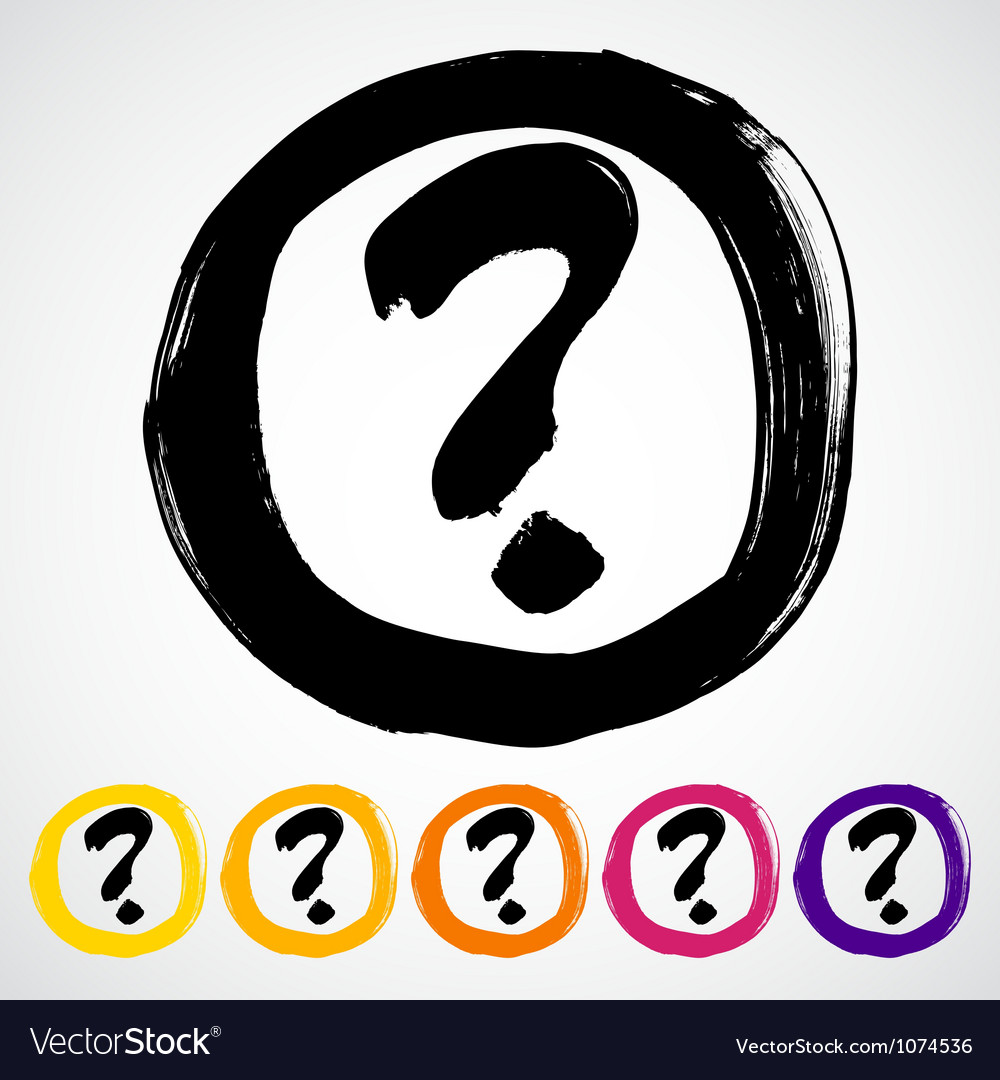 Hand-painted question mark sign  icon vector | Price: 1 Credit (USD $1)