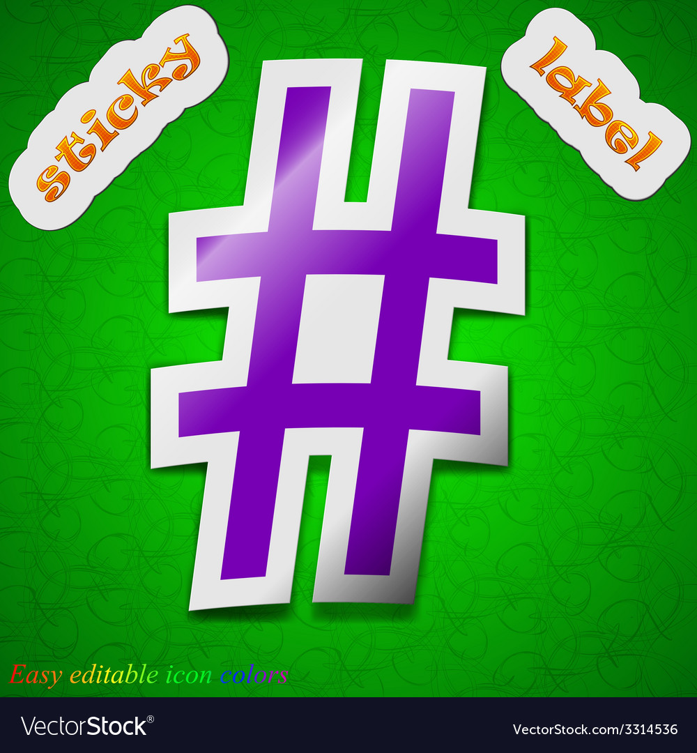 Hash tag icon sign symbol chic colored sticky vector | Price: 1 Credit (USD $1)