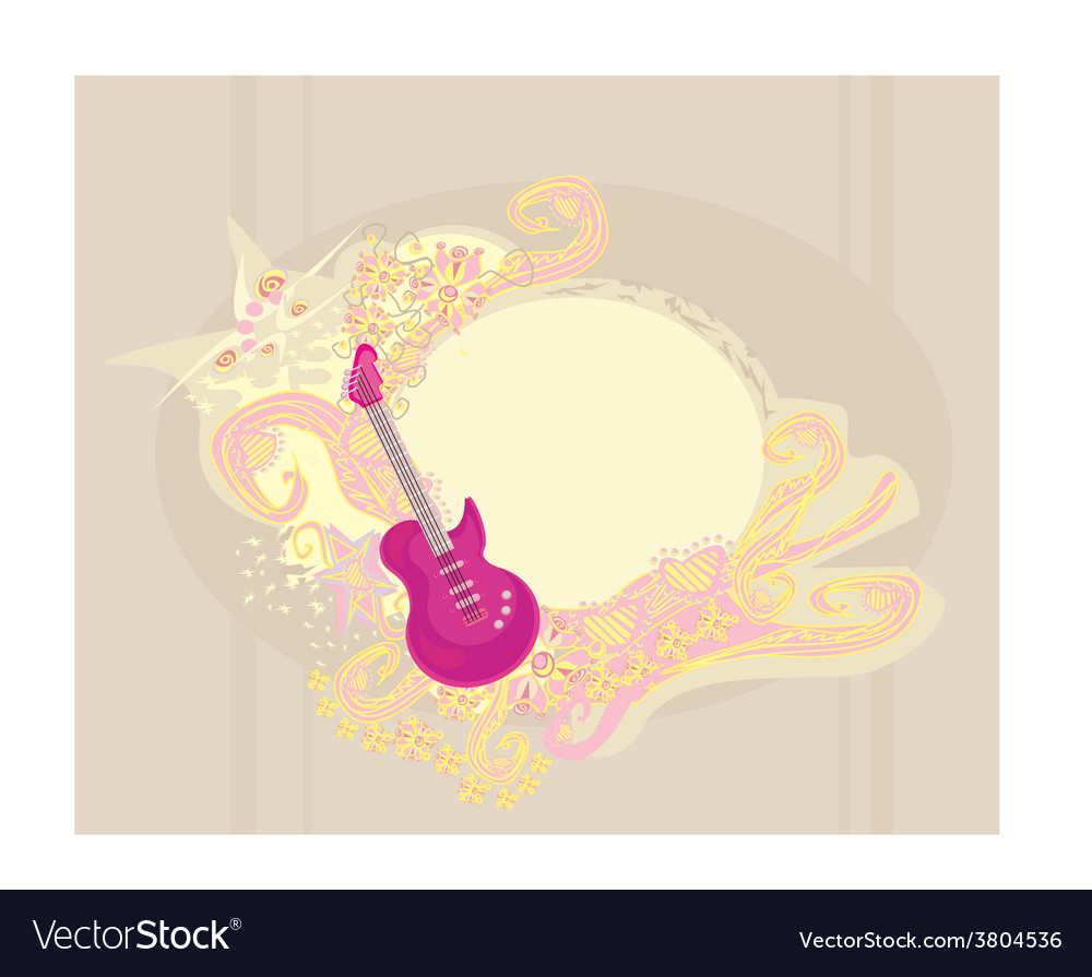 Image of pink guitar with wide area for your vector | Price: 1 Credit (USD $1)