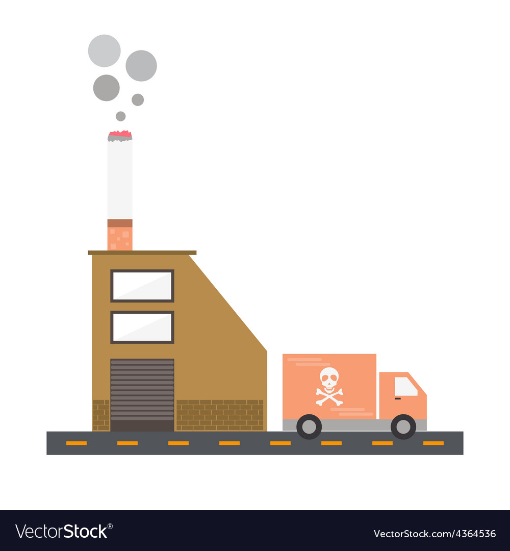 Isolated cartoon cigarette factory delivery flat d vector | Price: 1 Credit (USD $1)