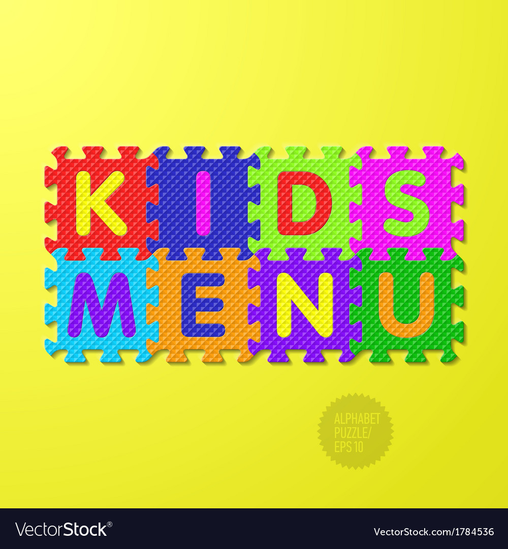 Kids menu alphabet puzzle vector | Price: 1 Credit (USD $1)