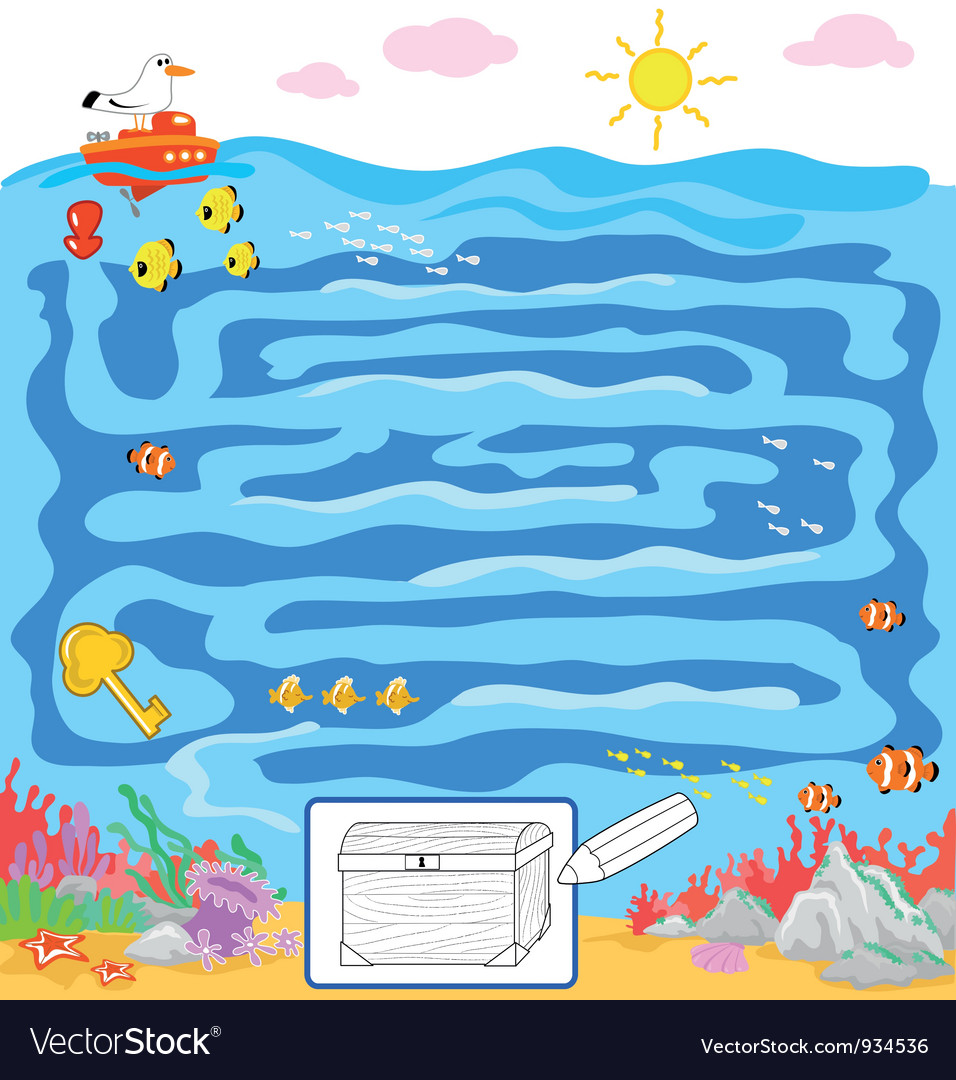 Kids sea maze game vector | Price: 3 Credit (USD $3)