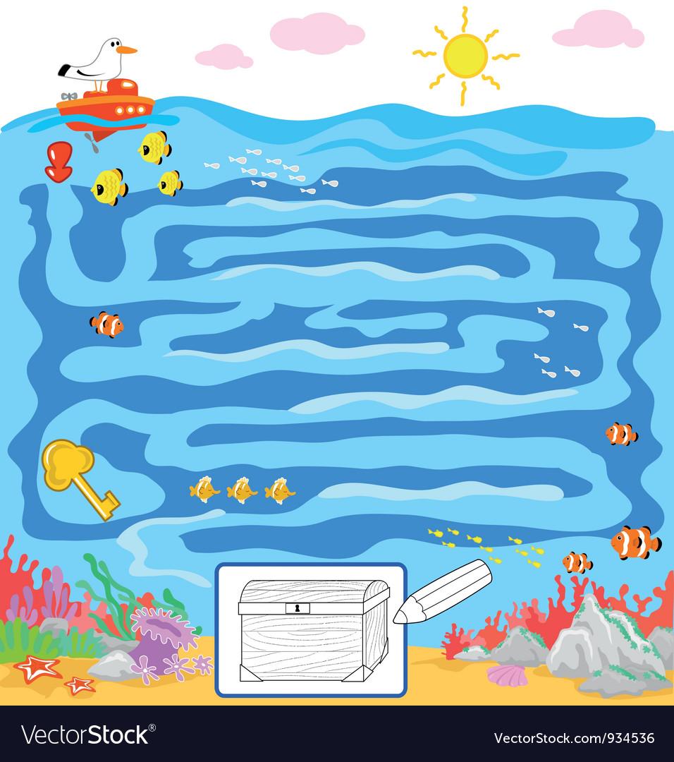 Kids sea maze game vector | Price: 3 Credit (USD $3)