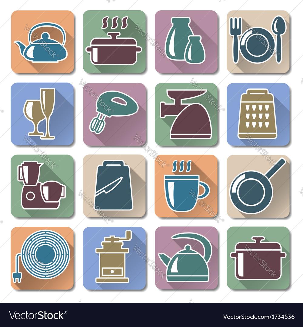 Kitchenware retro flat icons vector | Price: 1 Credit (USD $1)