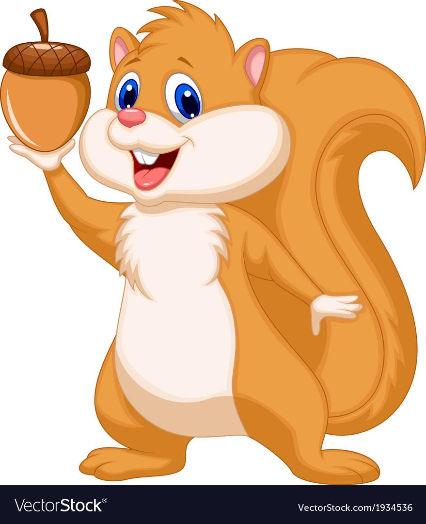 Squirrel cartoon with nut vector