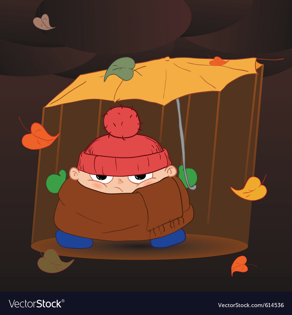Standing in the rain vector | Price: 1 Credit (USD $1)