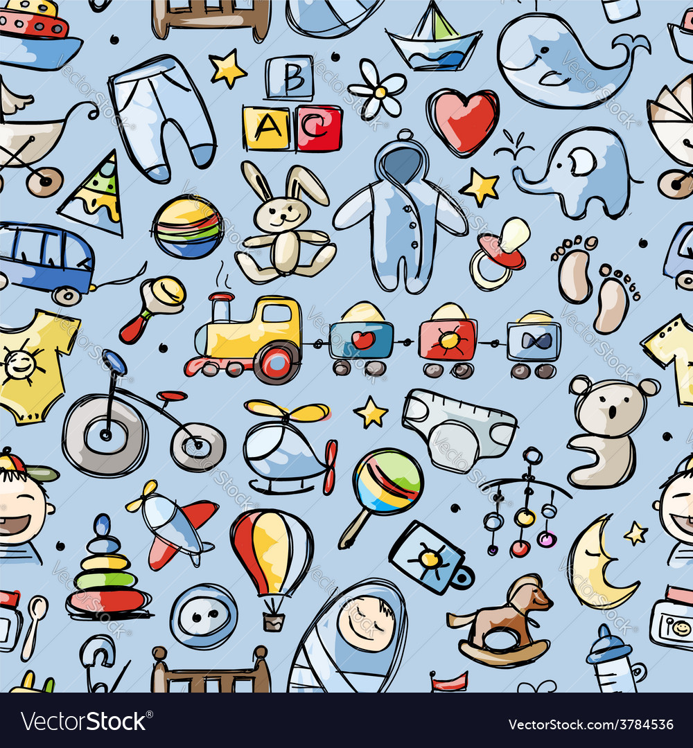 Toys for baby boy seamless pattern for your vector | Price: 1 Credit (USD $1)