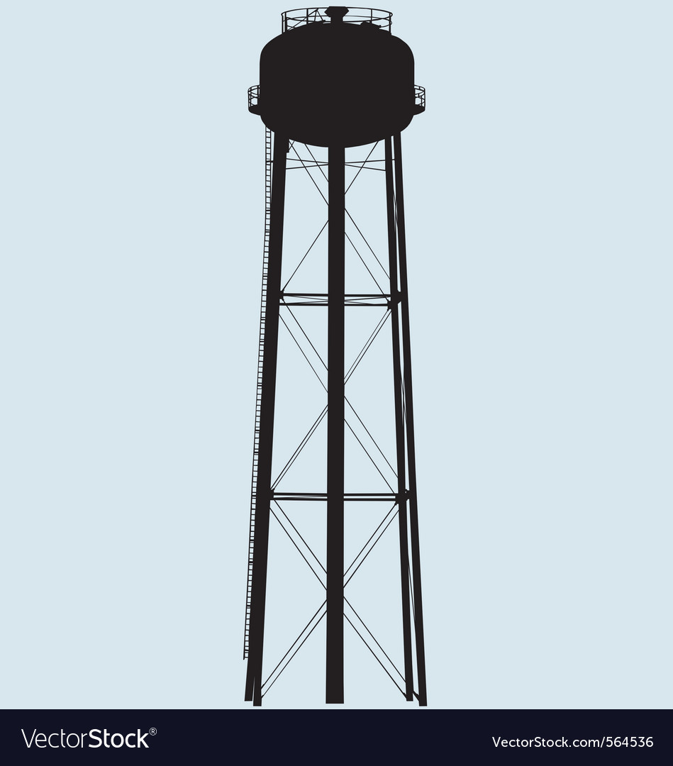 Water tower silhouette vector | Price: 1 Credit (USD $1)