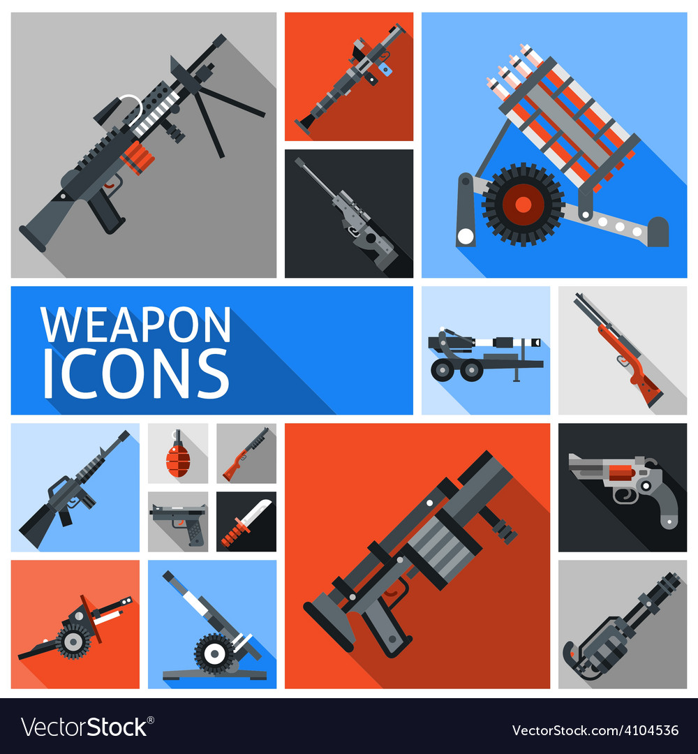 Weapon icons set vector | Price: 1 Credit (USD $1)