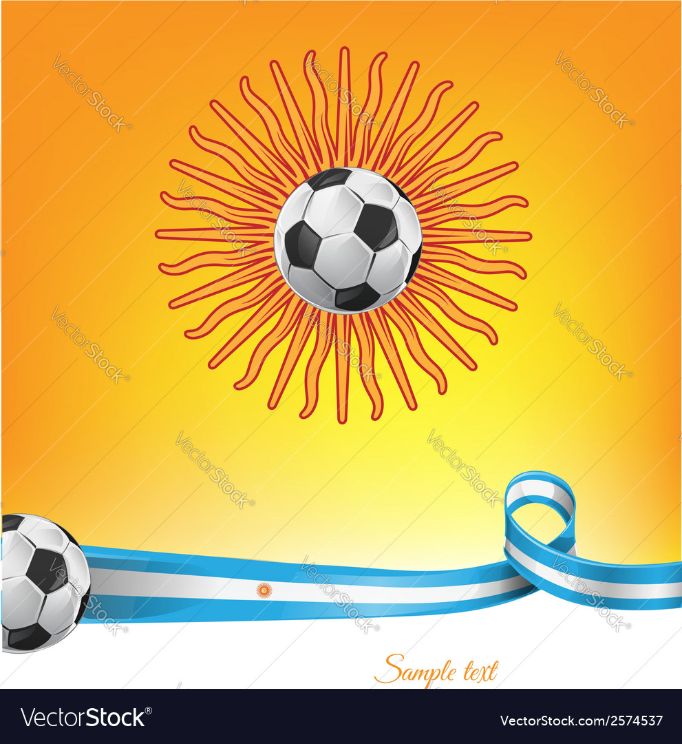 Argentina flag with soccer ball on background vector | Price: 1 Credit (USD $1)